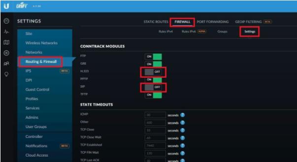 Ubiquiti router configuration screen